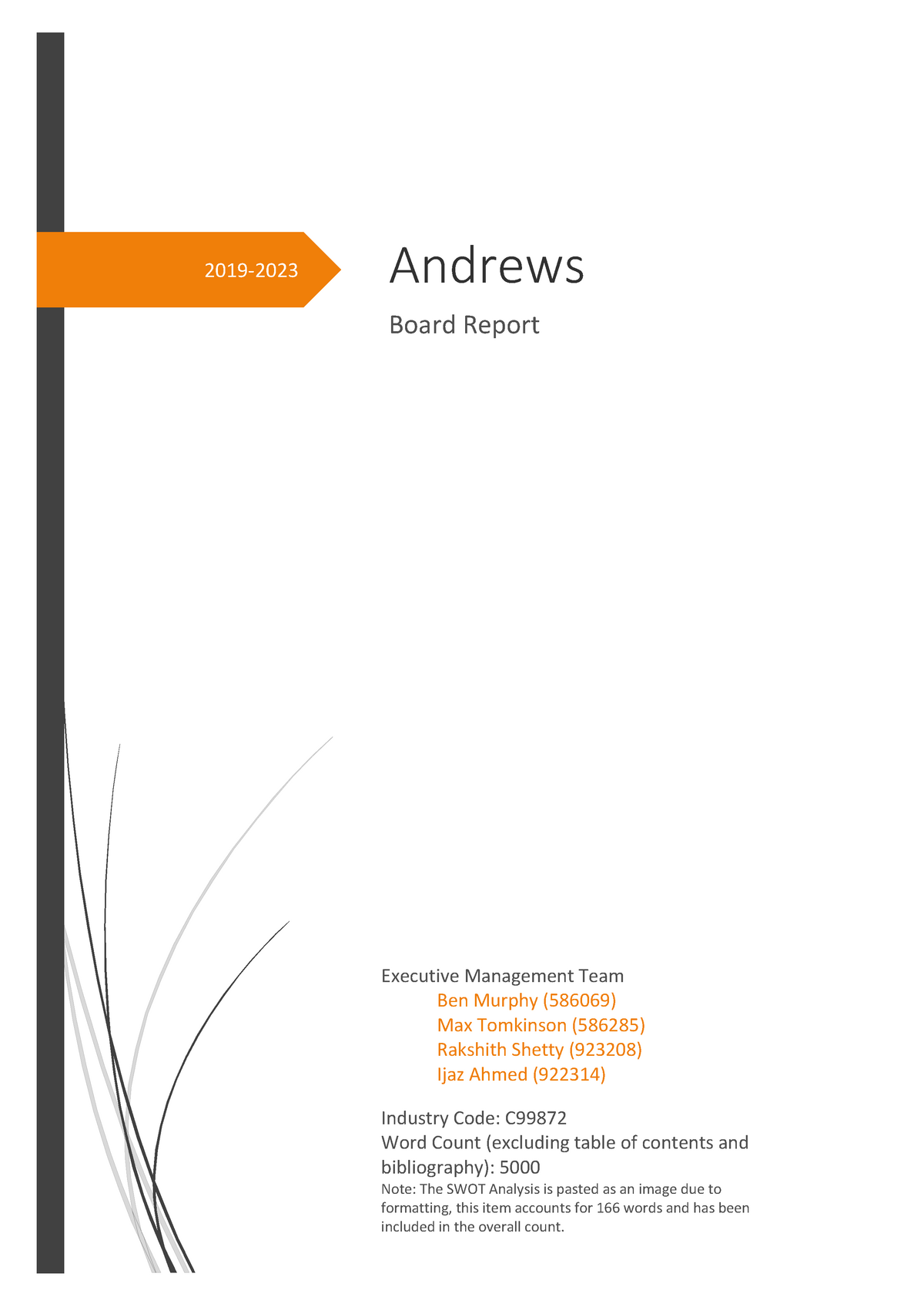Board Report - 72 Andrews - MGMT90146 Strategic Management