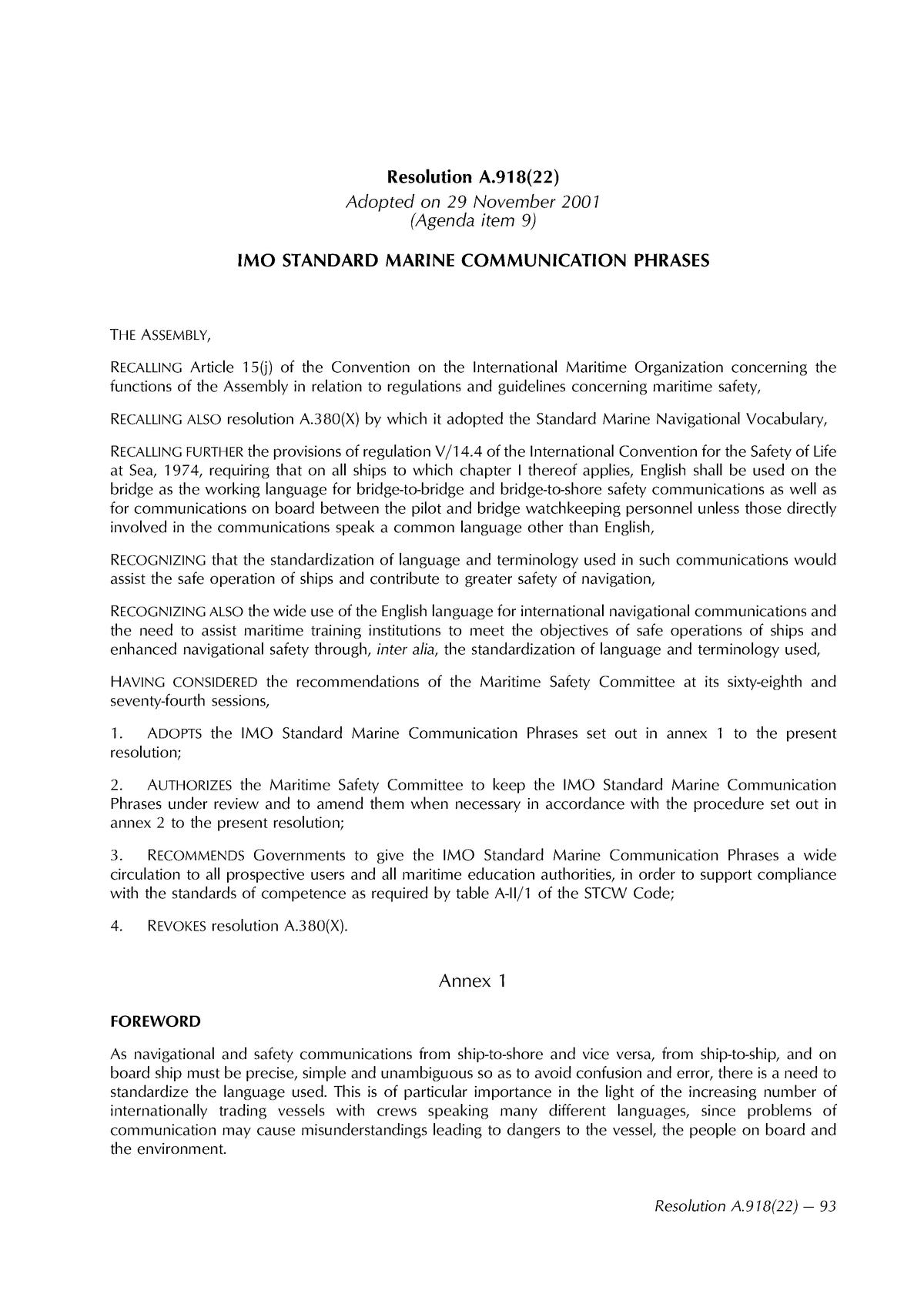 IMO Standard Marine Communication Phrases - Communicatie
