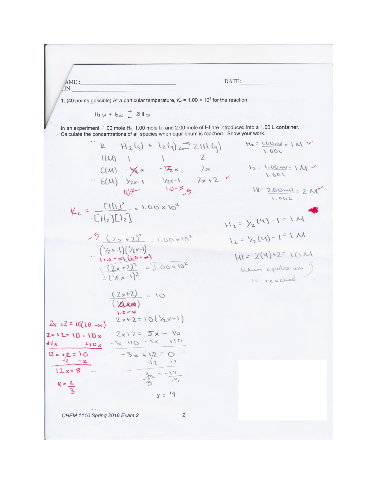 Chemistry Spring Final Exam Review Answers 2019