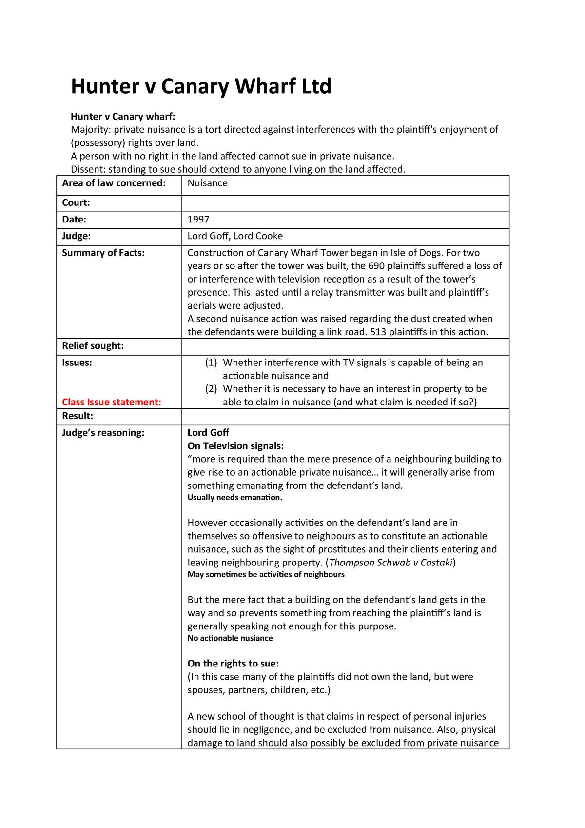 Hunter v Canary Wharf Ltd - The Law of Torts LAWS212 - StuDocu