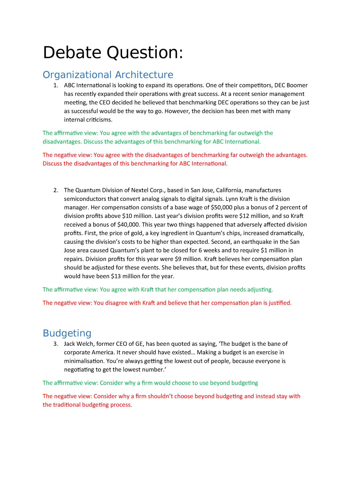 Case study questions - AYB321: Strategic Management Accounting - StuDocu
