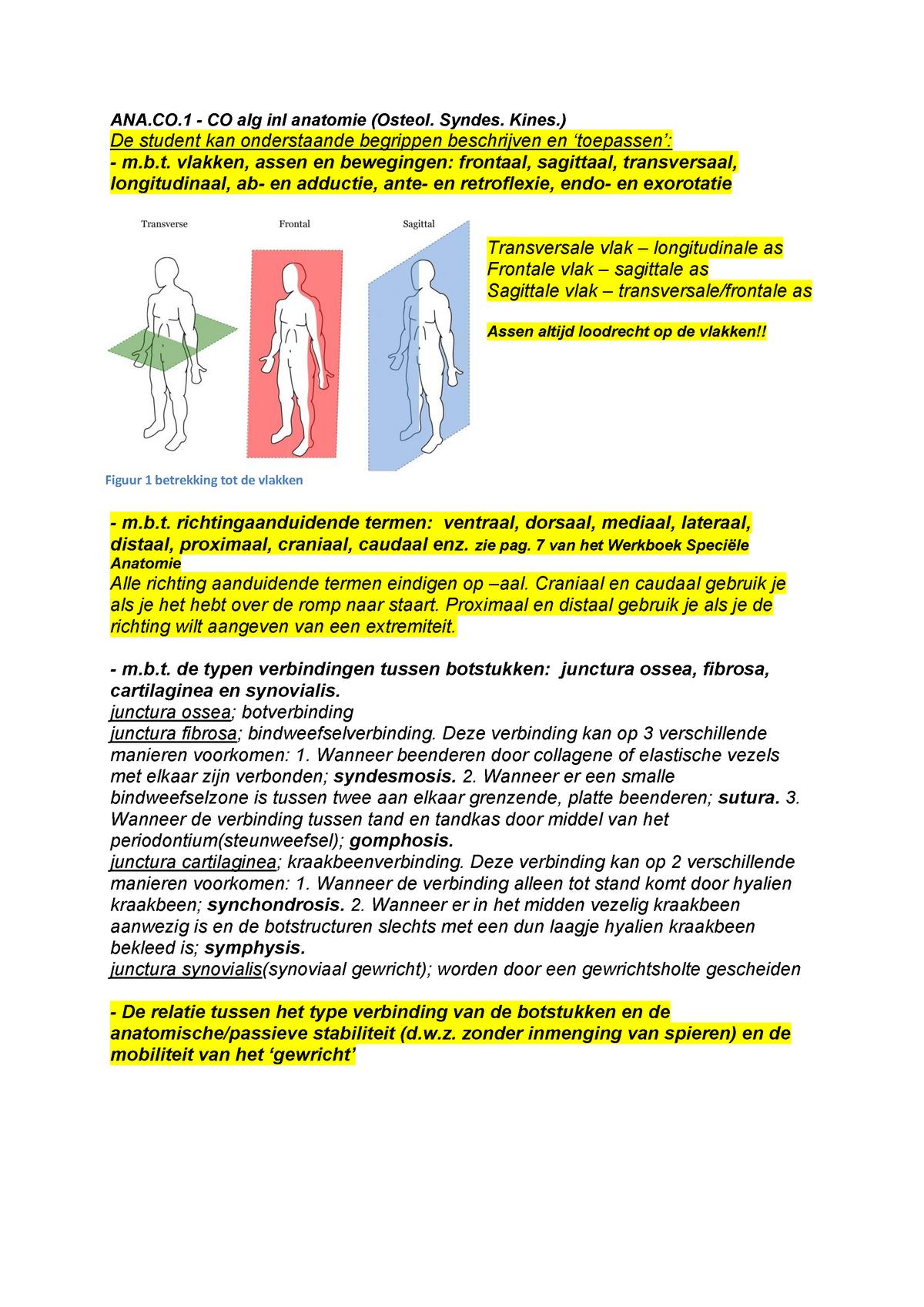 College Aantekeningen Colleges Anatomie Af1c Studeersnel