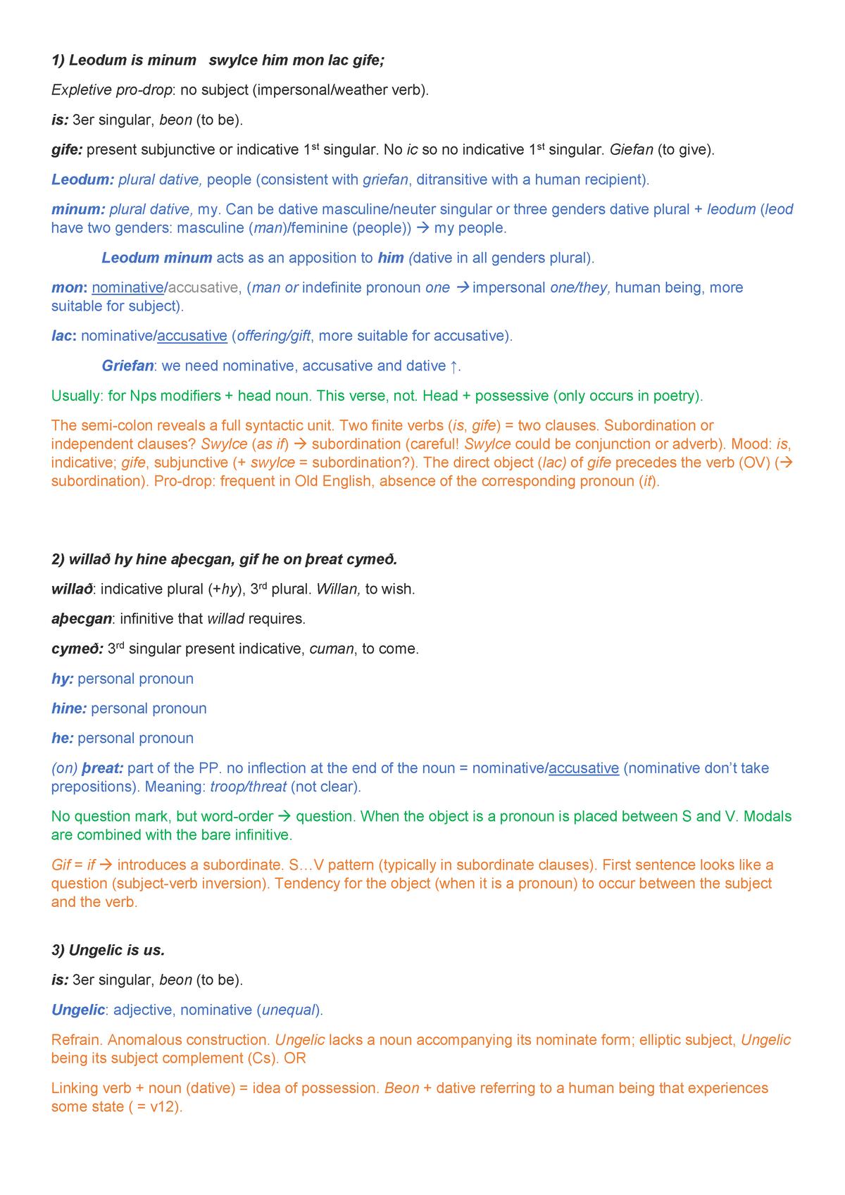 Old English Texts - 6402304: Diacronía y Tipología del