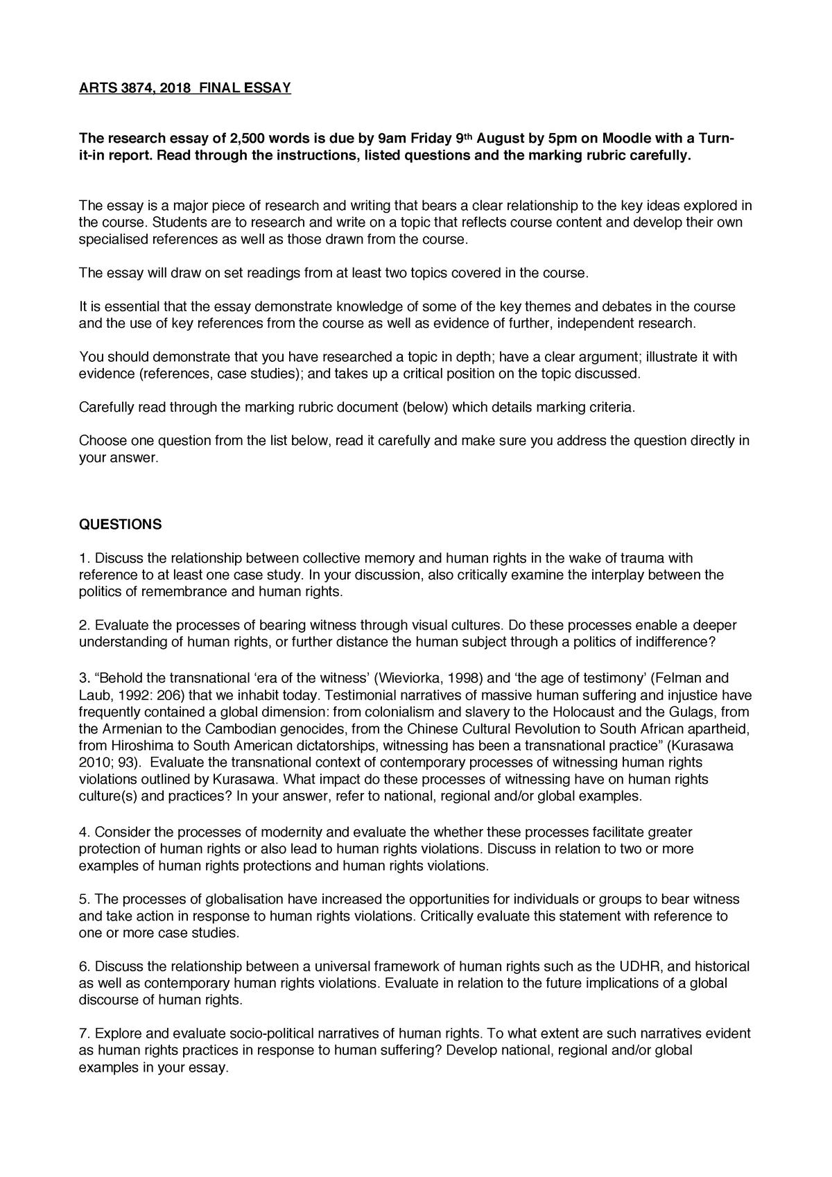 ARTS3874 Essay Questions 2019 - Culture and Human Rights