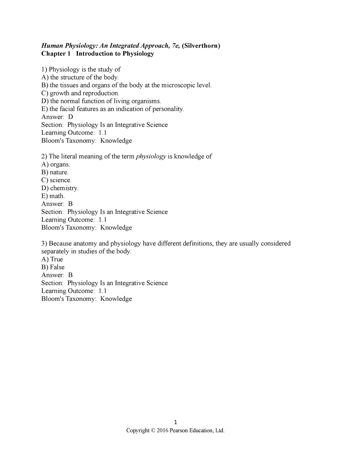 01 test bank - practice questions - BIOL 2410 - U of M - StuDocu