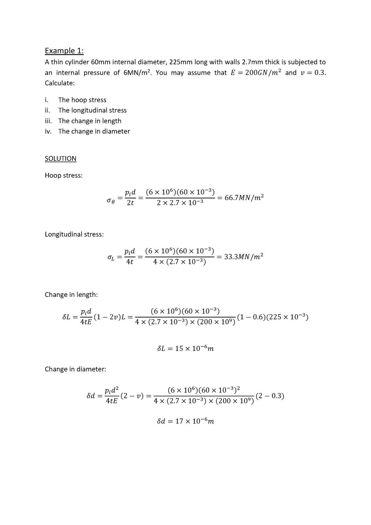 Example 1 with solution for cylinders - EG-262: Stress