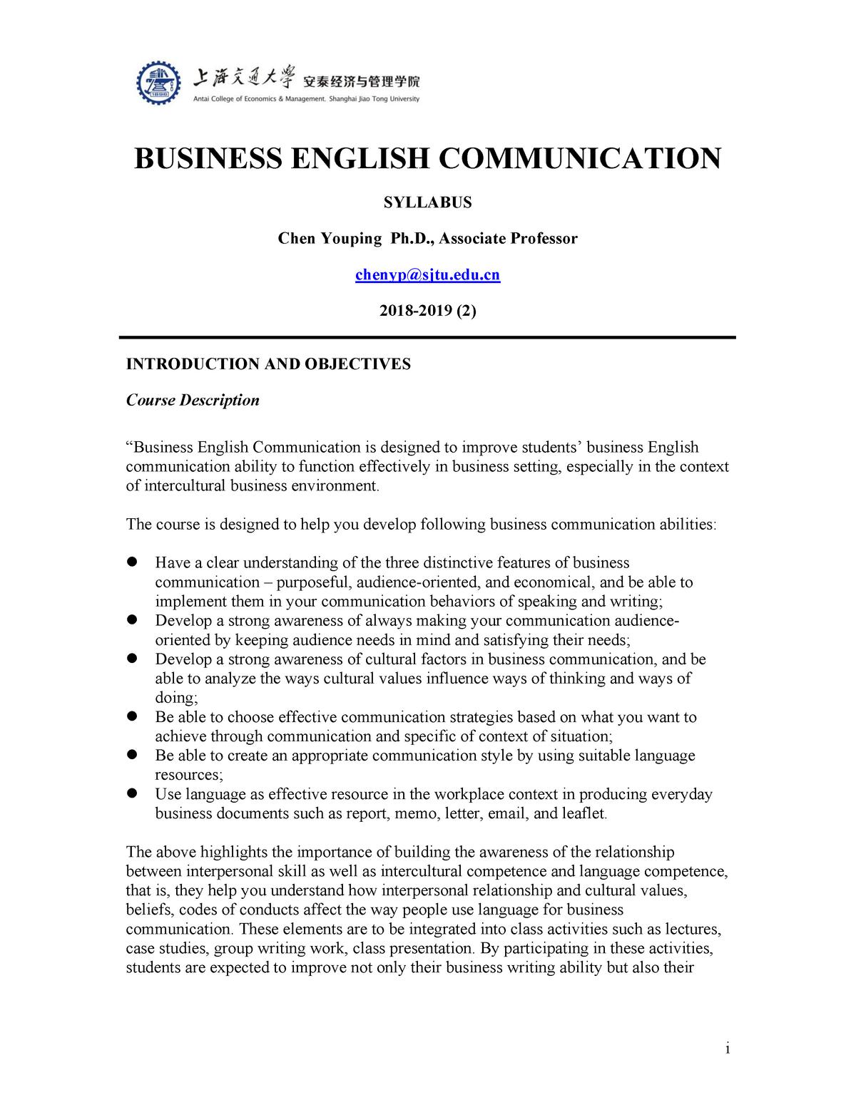 Business English Communication - EN315: Business