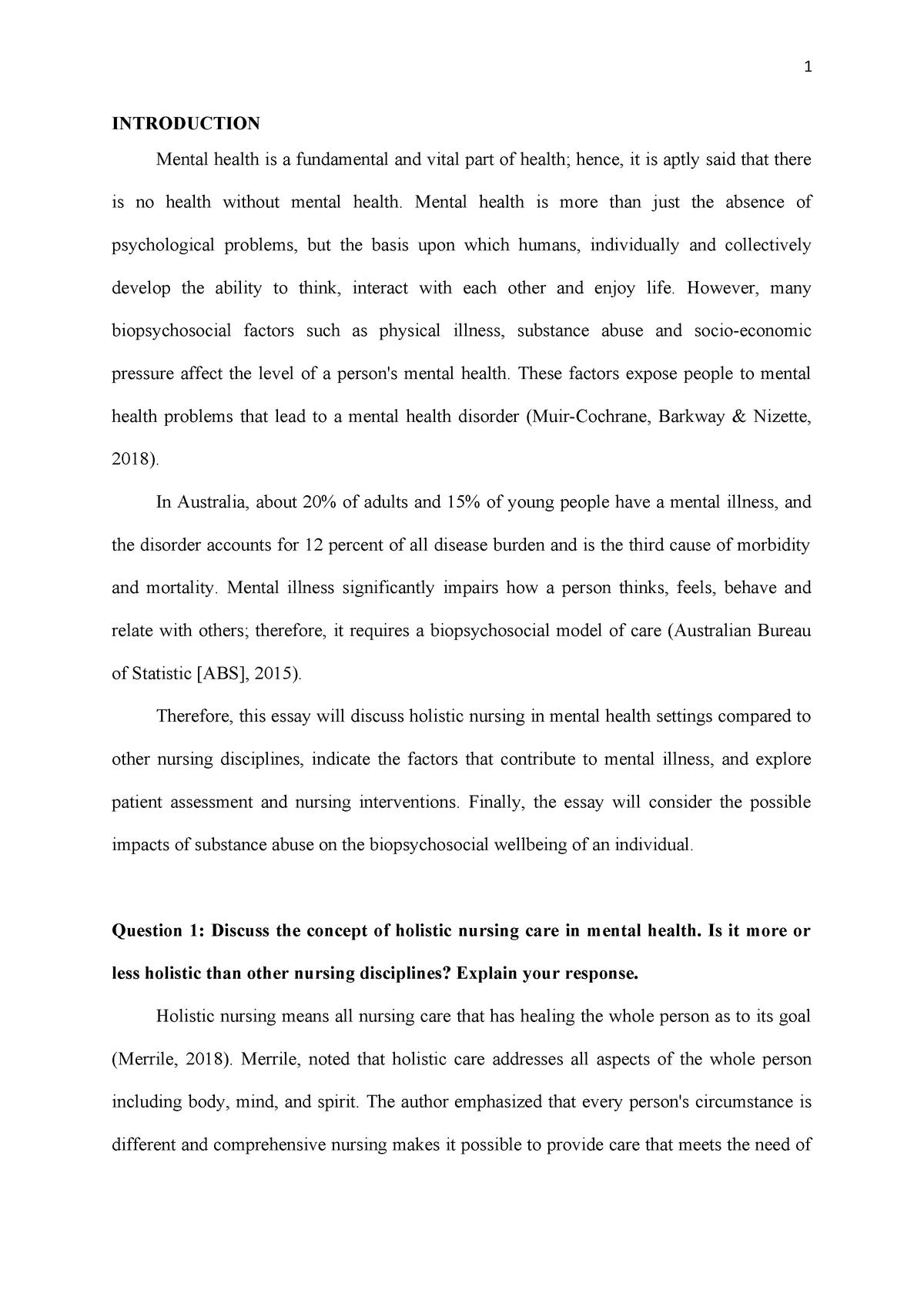 Mental Health Assessment Ncs2102 Ecu Studocu