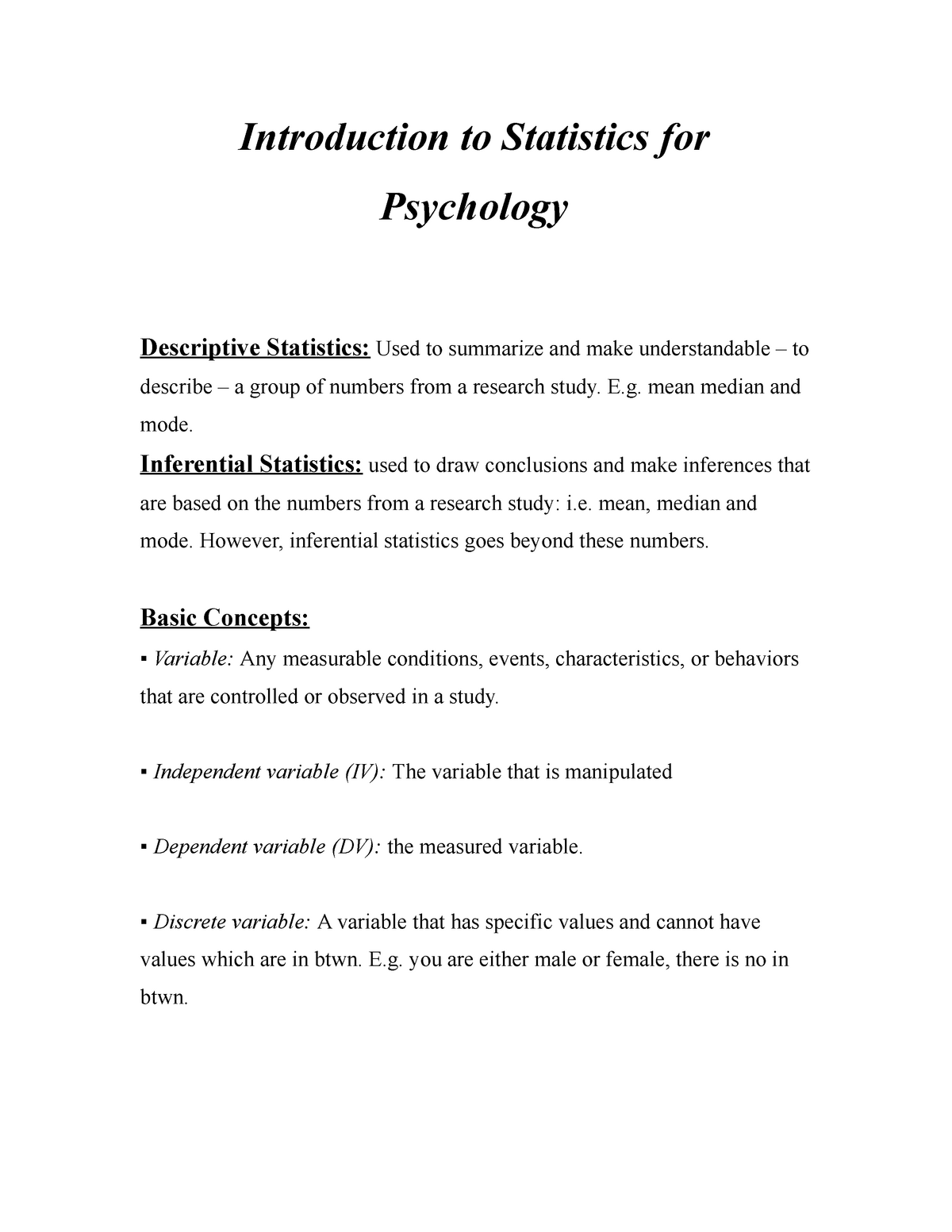 Summary - Introduction to Statistics for Psychology - Bond