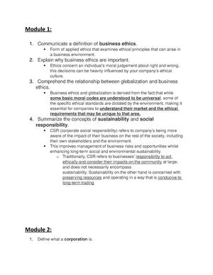 Ethics Study Guide - College-aantekeningen 1-7 - CM3