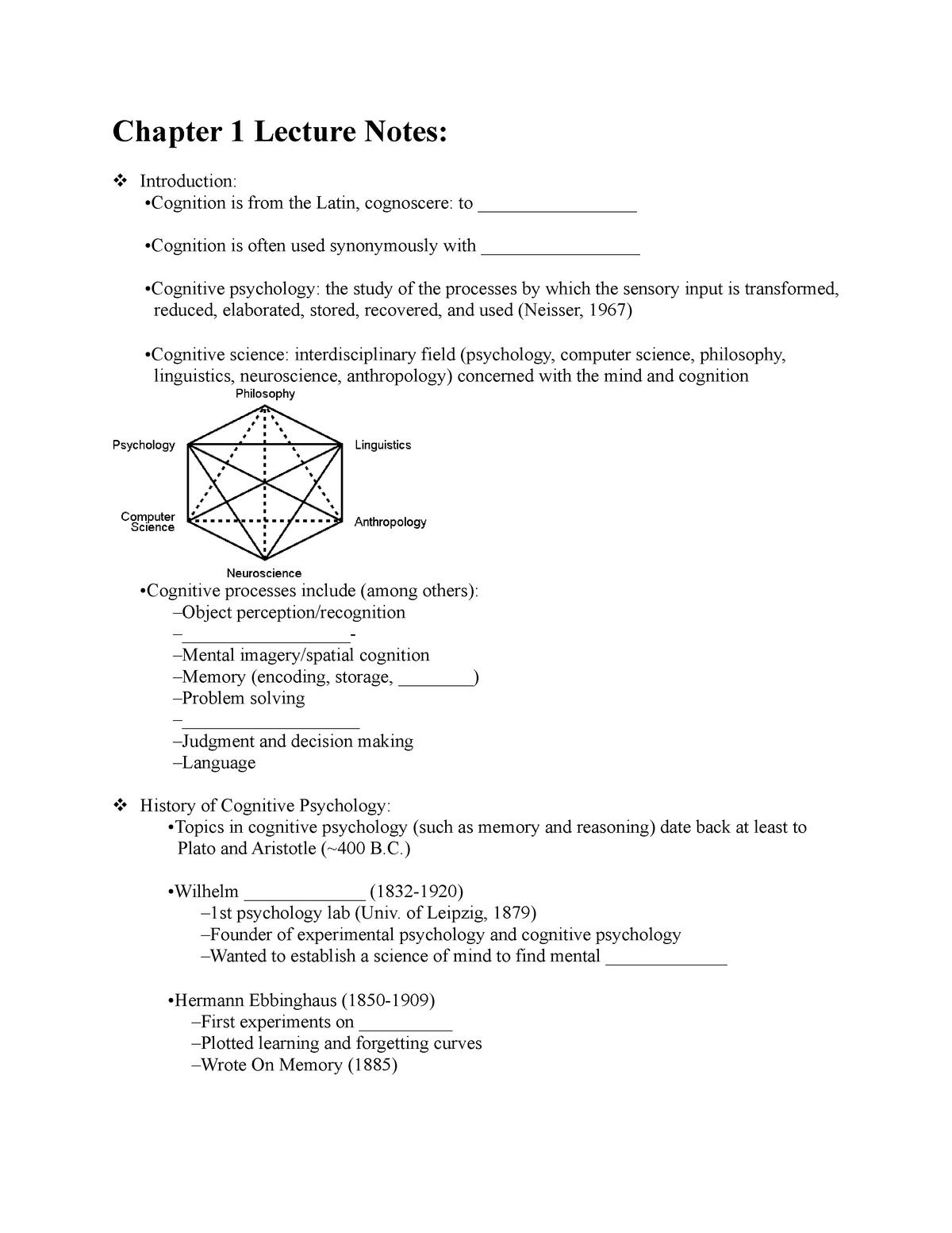 Psych 362 Chapter 1 Notes - PSYC 362: Cognitive Psychology - StuDocu