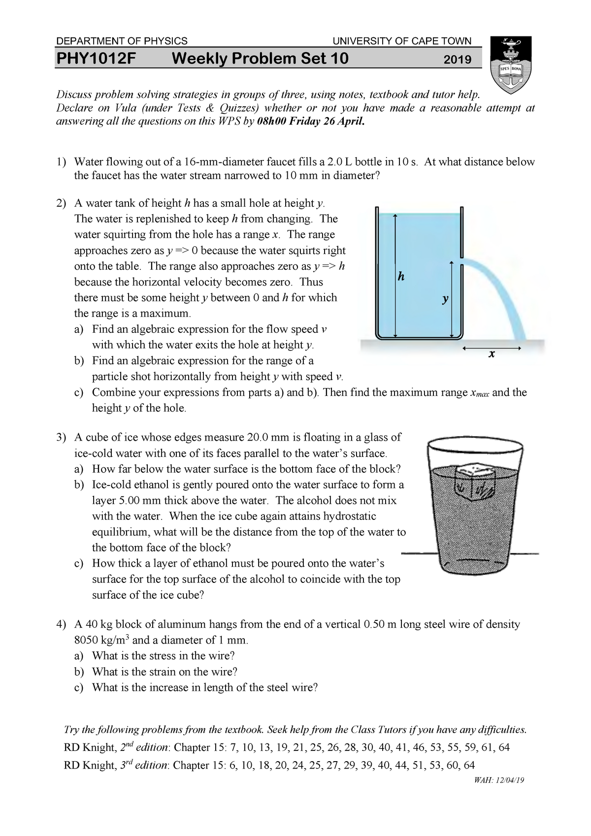 PHY1012F-wps10-19 - Worksheet on Fluids - PHY1012F: Physics for