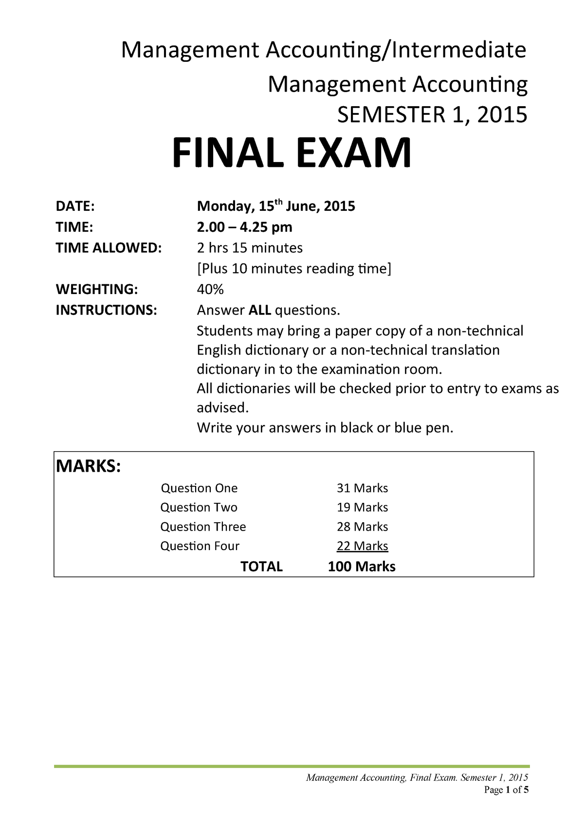 Exam June 2015, questions - Management Accounting ACCT222