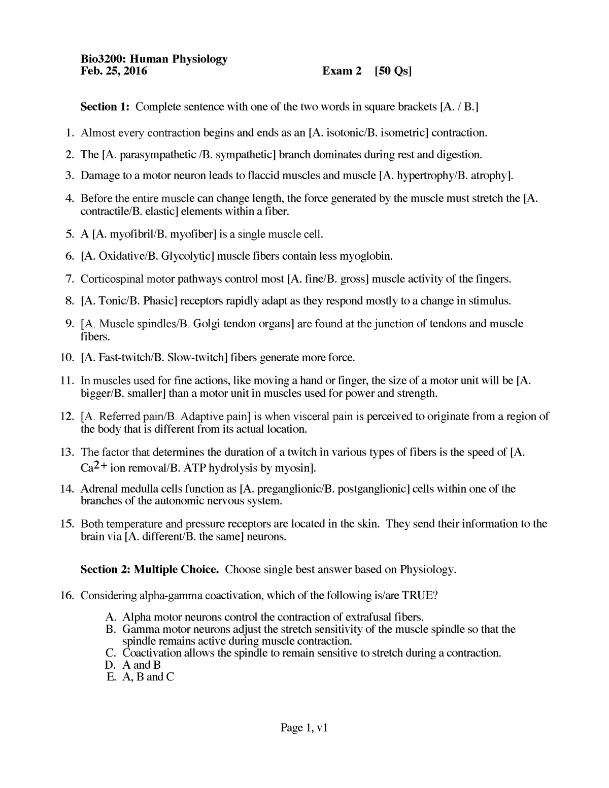 Exam 2018 - BIO 3200: Human Physiology - StuDocu