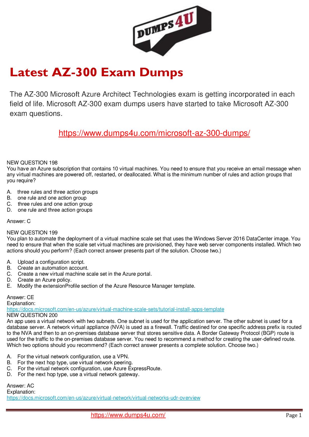 Microsoft AZ-300 Dumps 2019 | AZ-300 Questions - INFO 202