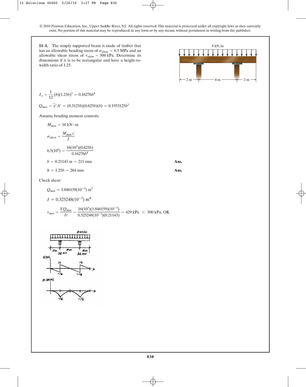 Sterkteleer - Mechanics of Materials, 8th edition H11 - StuDocu