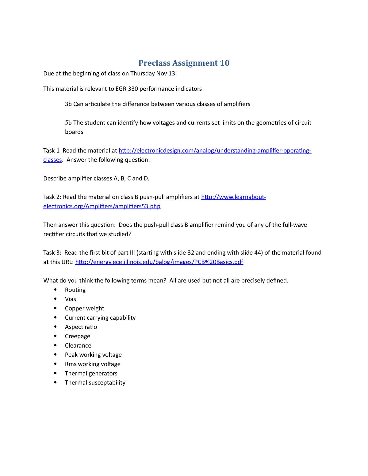 Preclass Assignment 10 - EGR 330: Design of Electrical