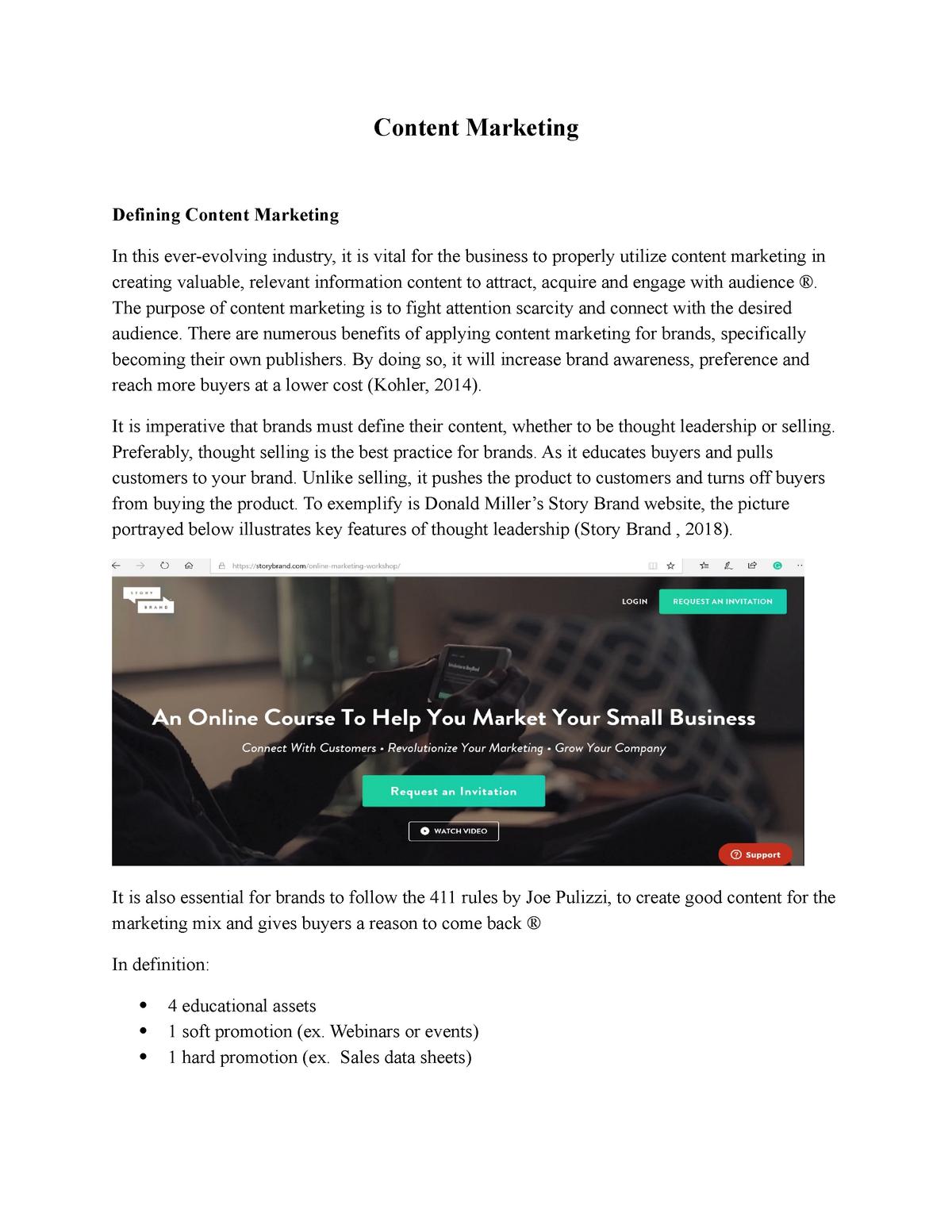 Content Marketing - Summary of Lynda Videos - MARK4474 - StuDocu