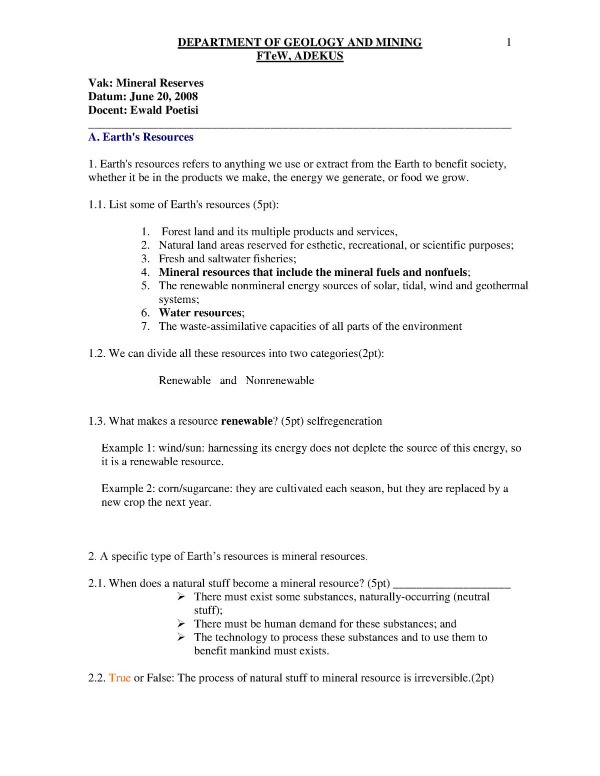 Exam 2008 - DP409: Mineraal reserves - StuDocu