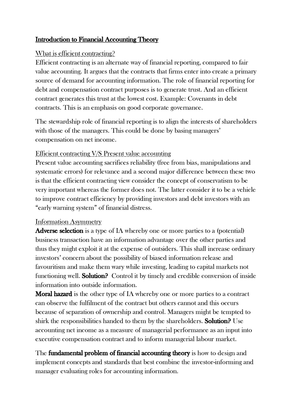 Lecture notes about Financial Accounting Theory pdf - StuDocu