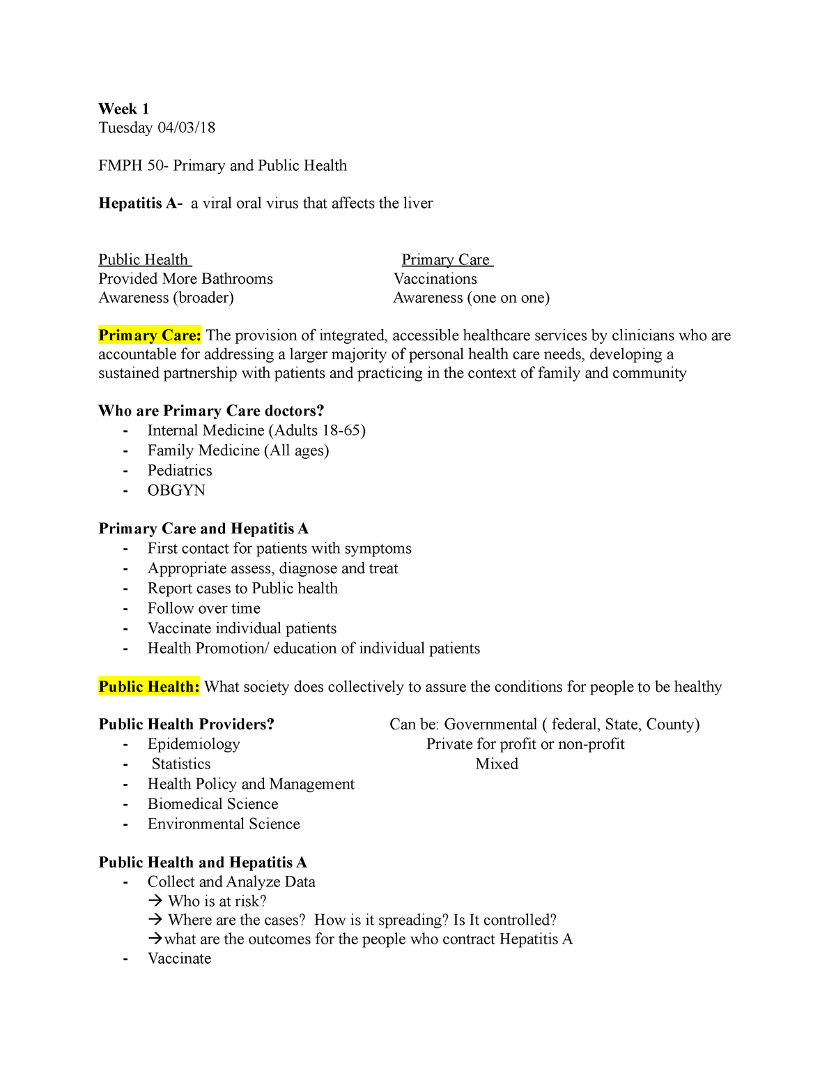 Lecture Notes 1 - FMPH 50 Primary Care and Public Health