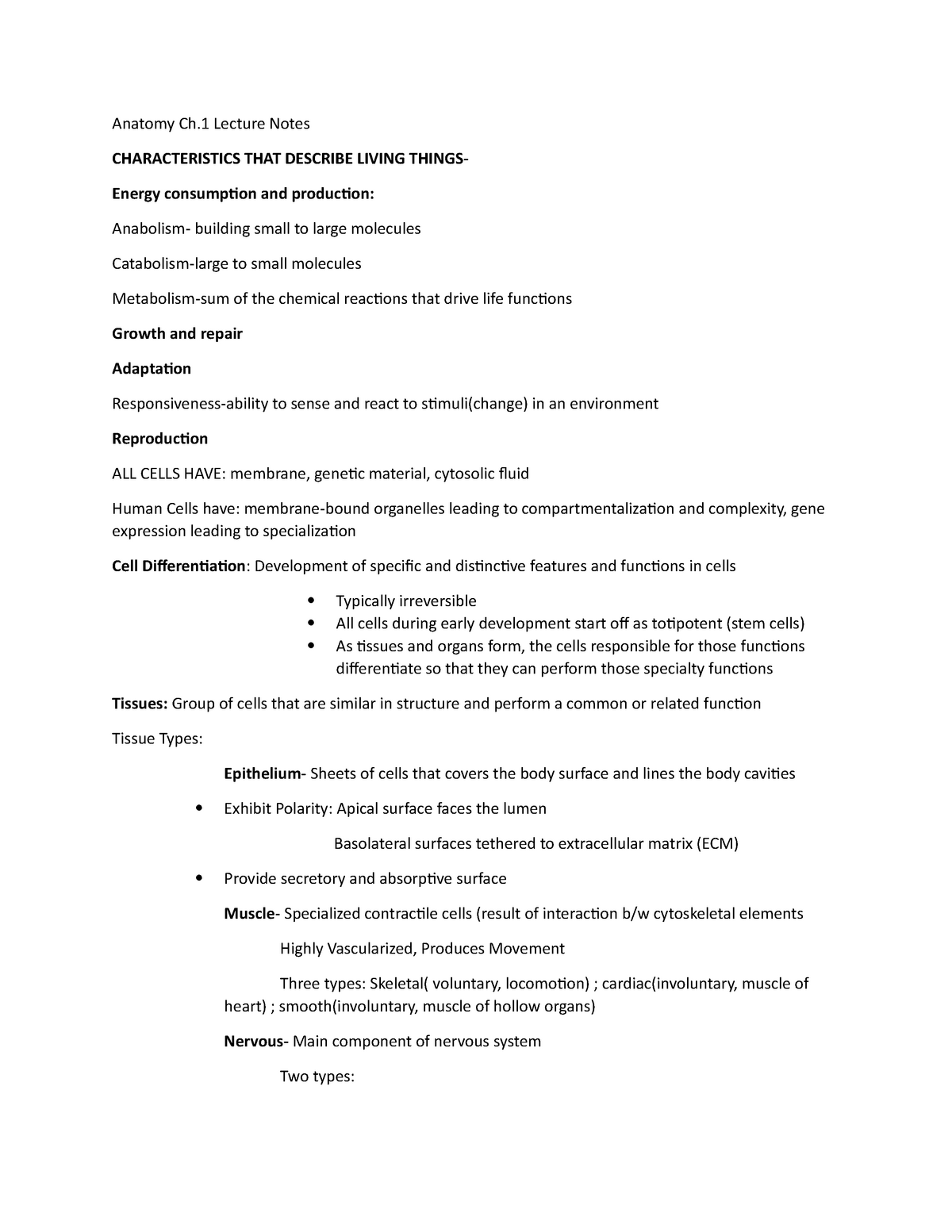 A&P CH 1 Lecture Notes - Professor Chad Wayne, University of