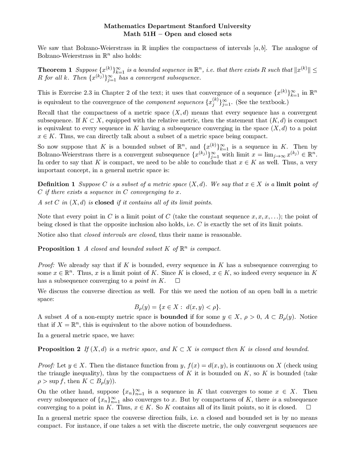 Lecture notes, lecture Open and closed sets - MATH 51H - StuDocu