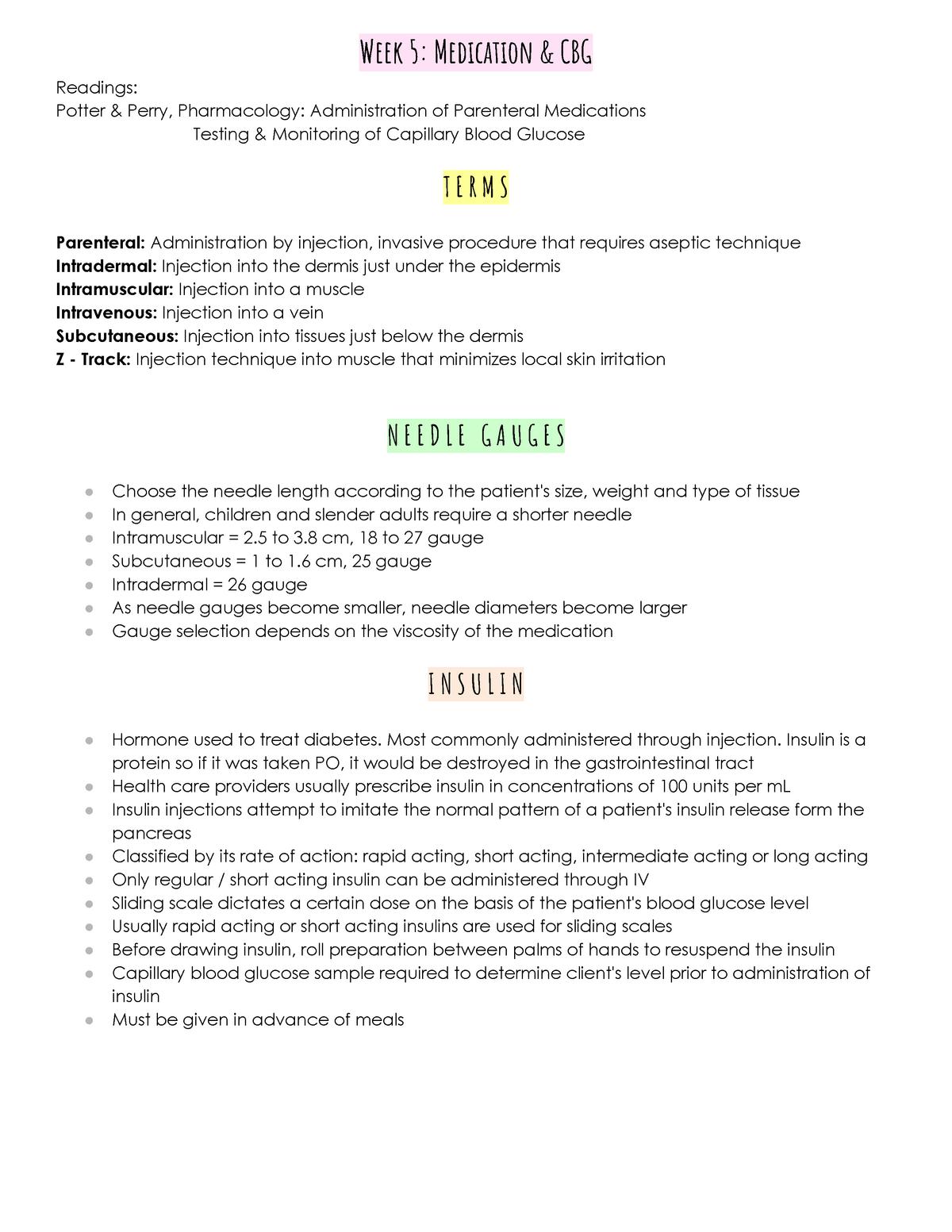 Week 5 Medication & CBG - Lecture notes Week 5 - NRSG-10064