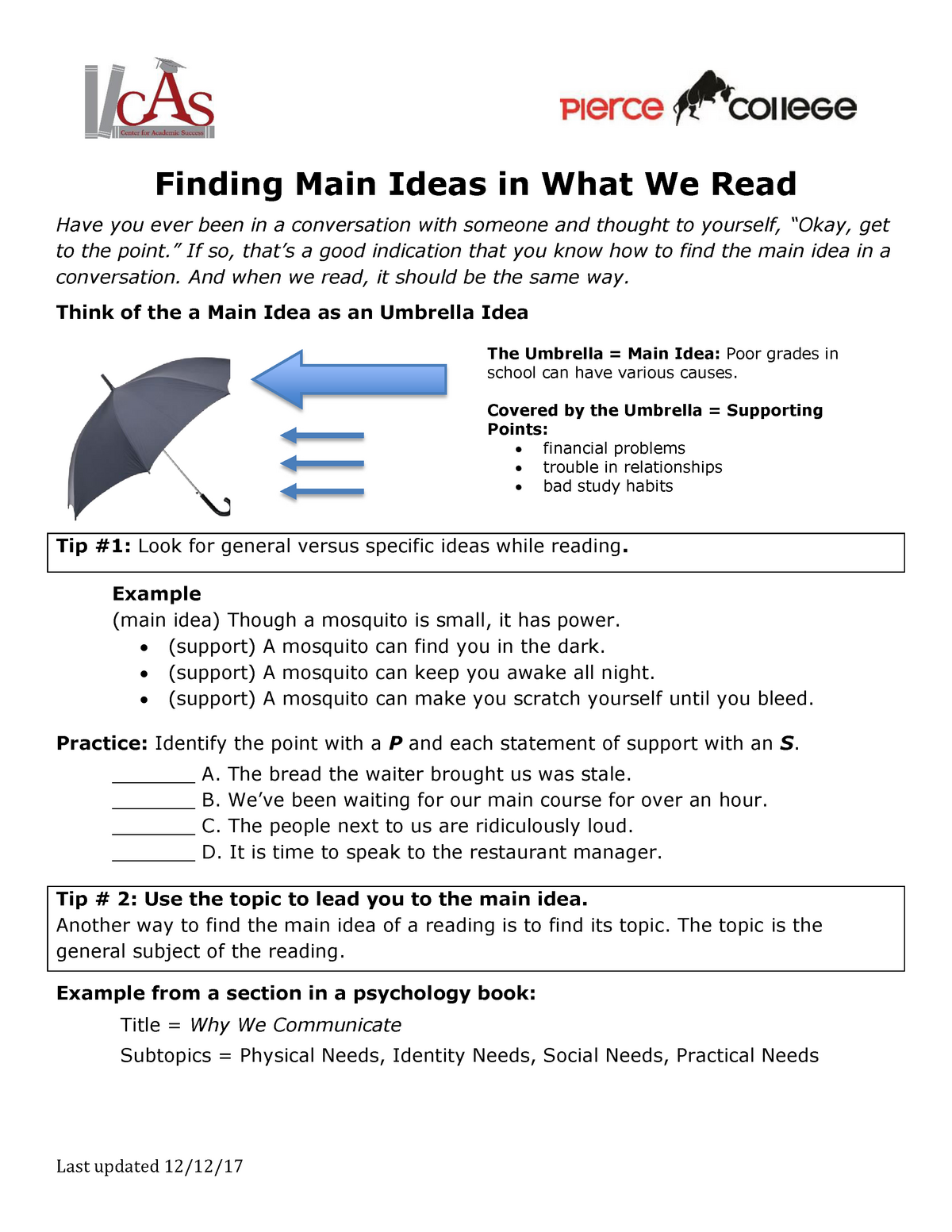 Finding MAIN Ideas IN WHAT WE READ - Eng 101 English - StuDocu