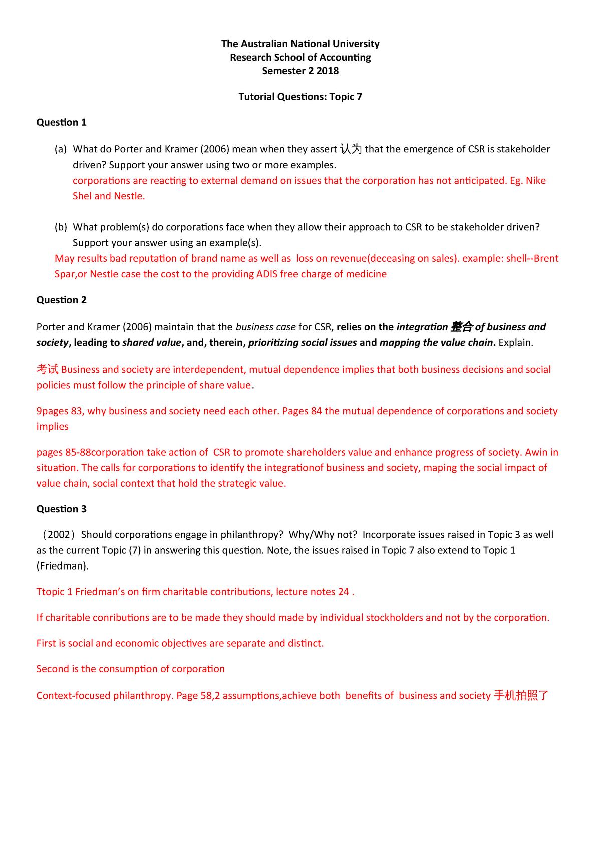 Busn3017 Tutorial Qs Topic 7 - ANU - StuDocu