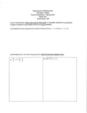 Exam Spring 2015, questions - MATH 1011 - Brooklyn College