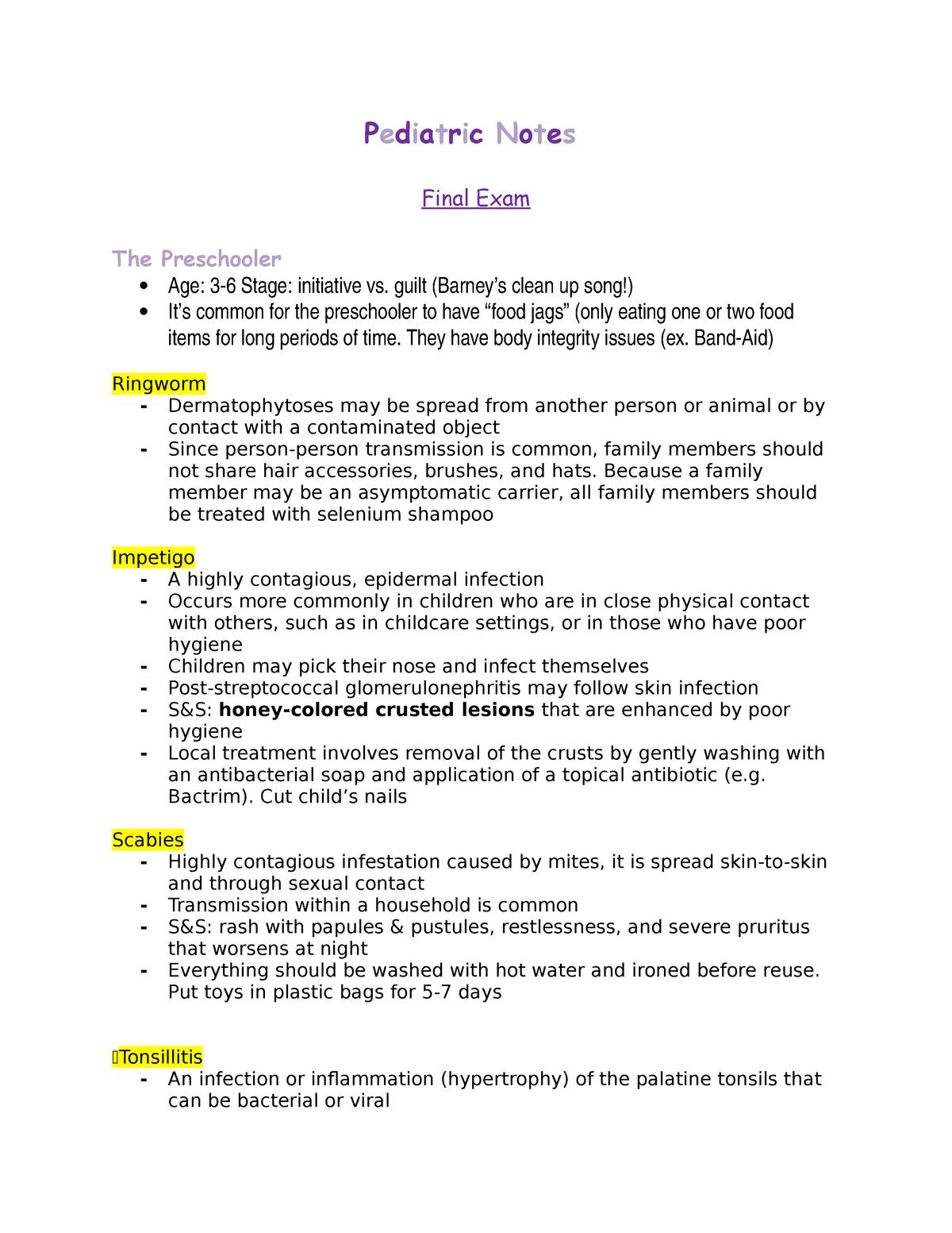 Pediatrics Notes Final Exam - NUR 4130 - NSU - StuDocu