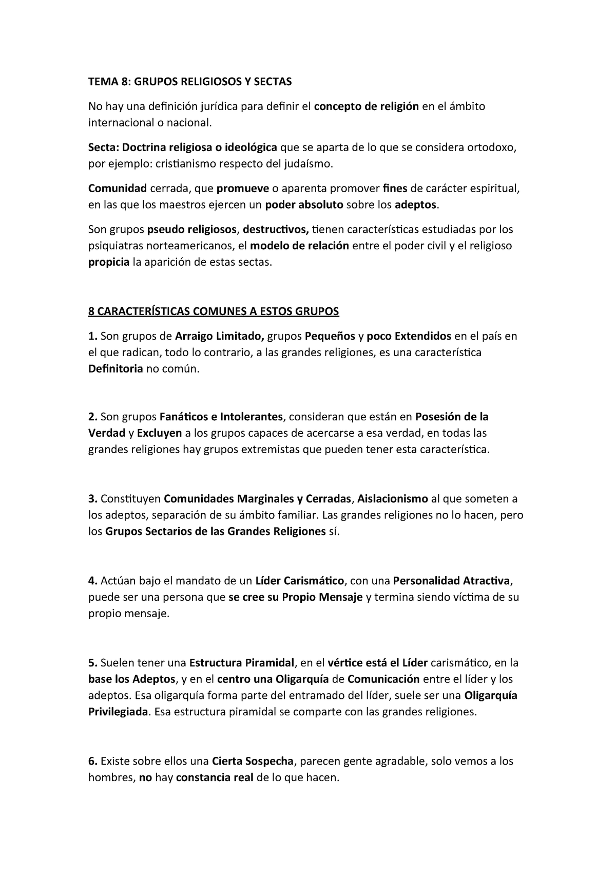 Tema 8 Grupos Religiosos Y Sectas 312014 Ucv Studocu