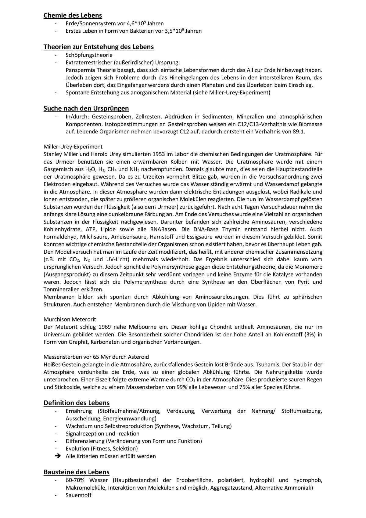 Mikrobiologie   Chemie des Lebens, summary   StuDocu