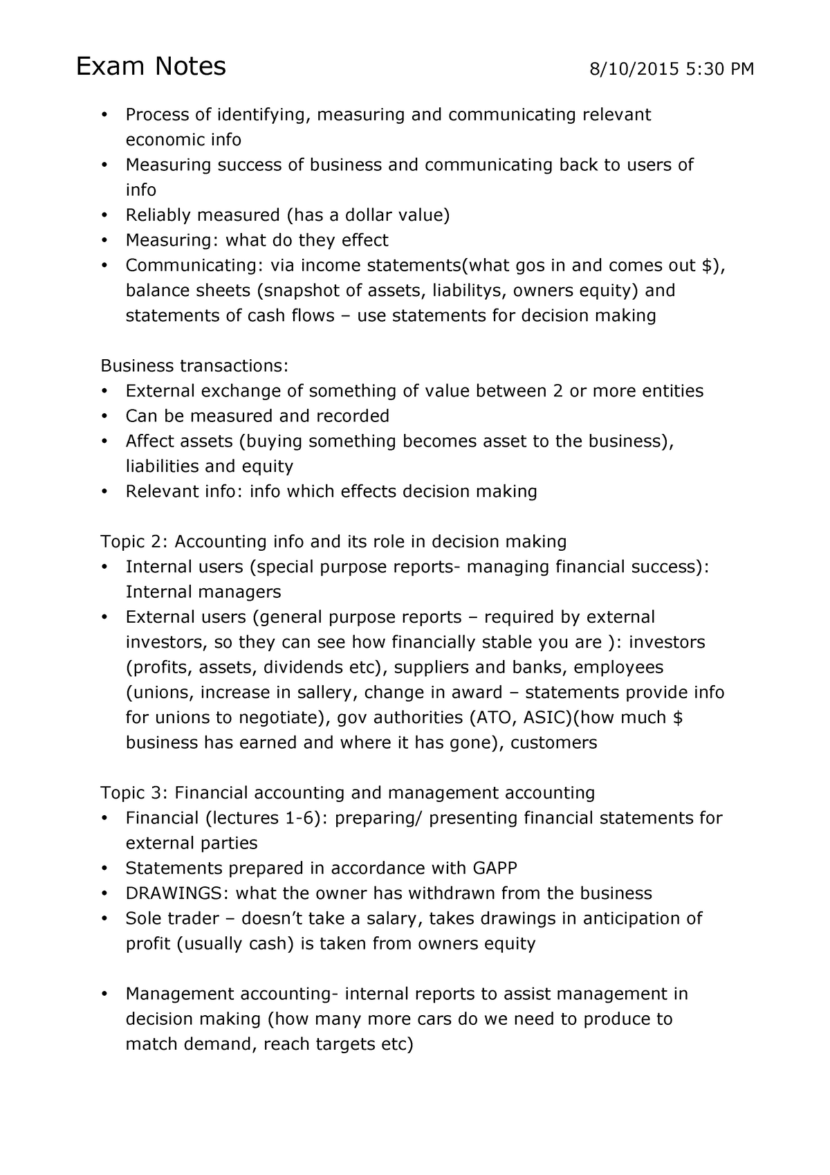 Accounting For Decision Making - Lecture notes, lectures 1