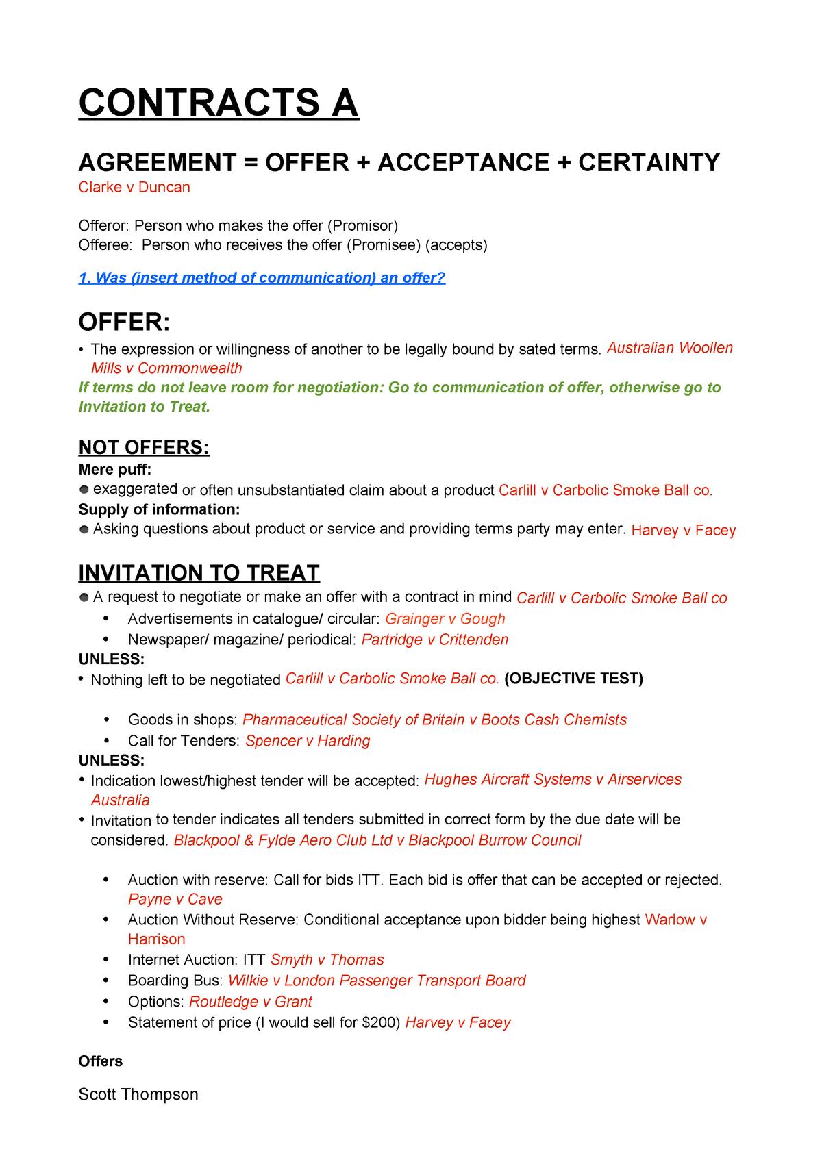 LLB202 Contract Exam Notes - StuDocu