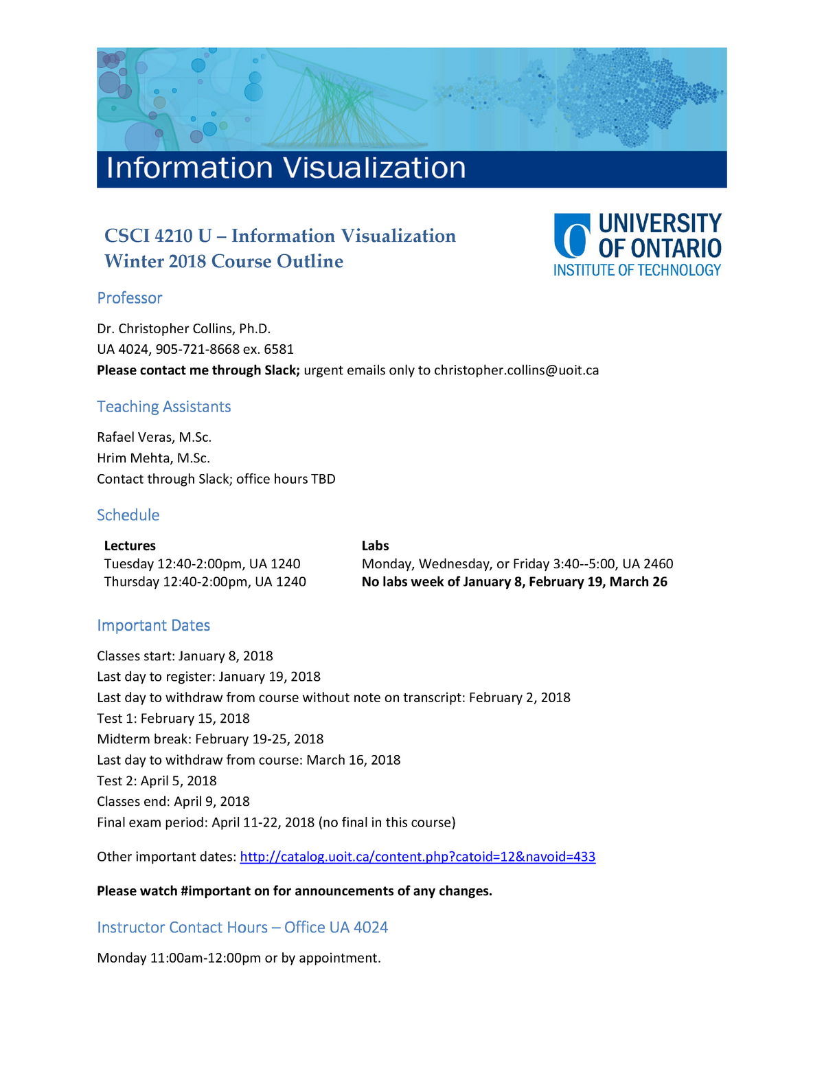 Syllabus - The course outline for information visualization