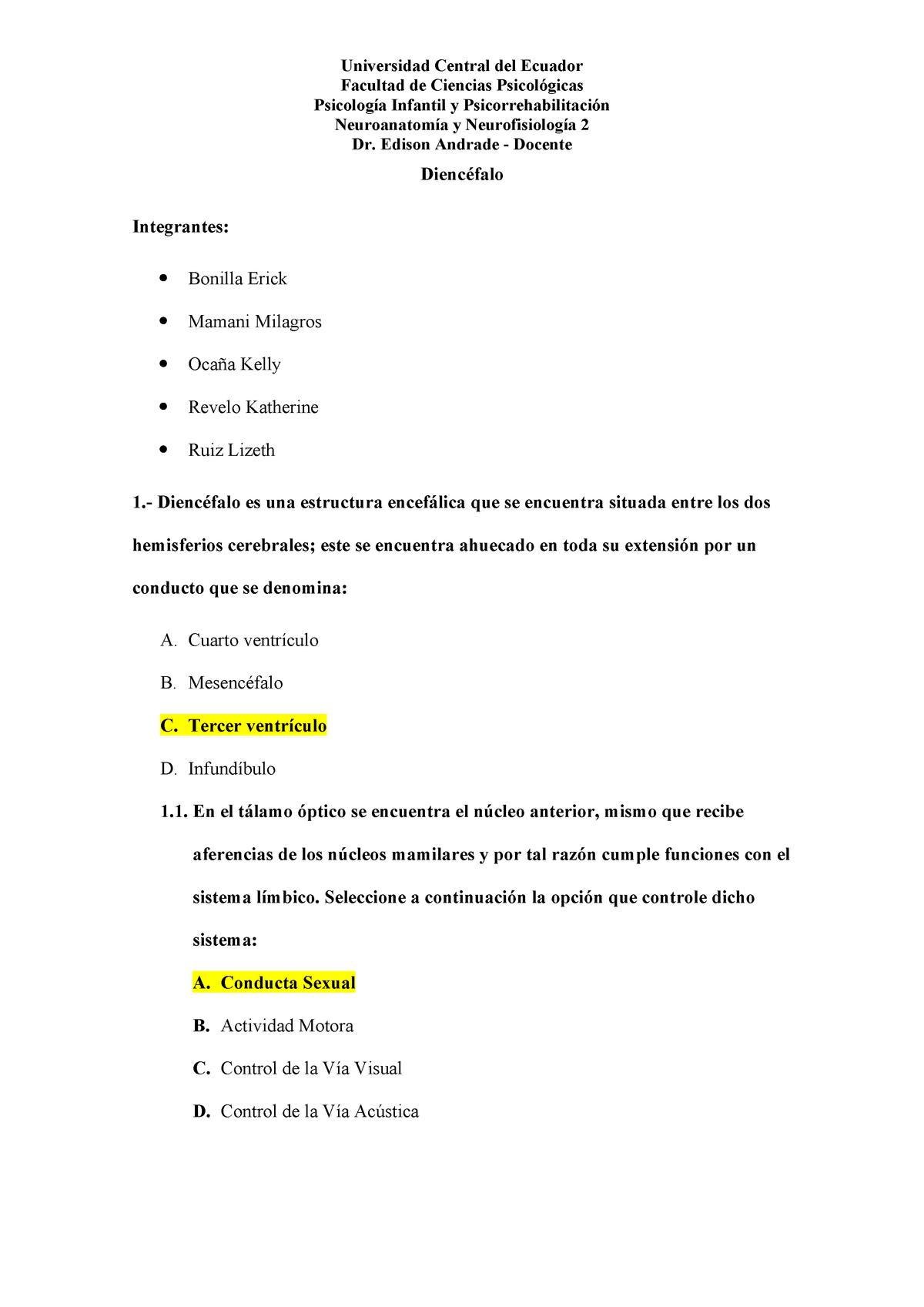 26a6e8ea1a51 Examen 2018 - 33103: NEUROANATOMÍA Y NEUROFISIOLOGÍA I - StuDocu