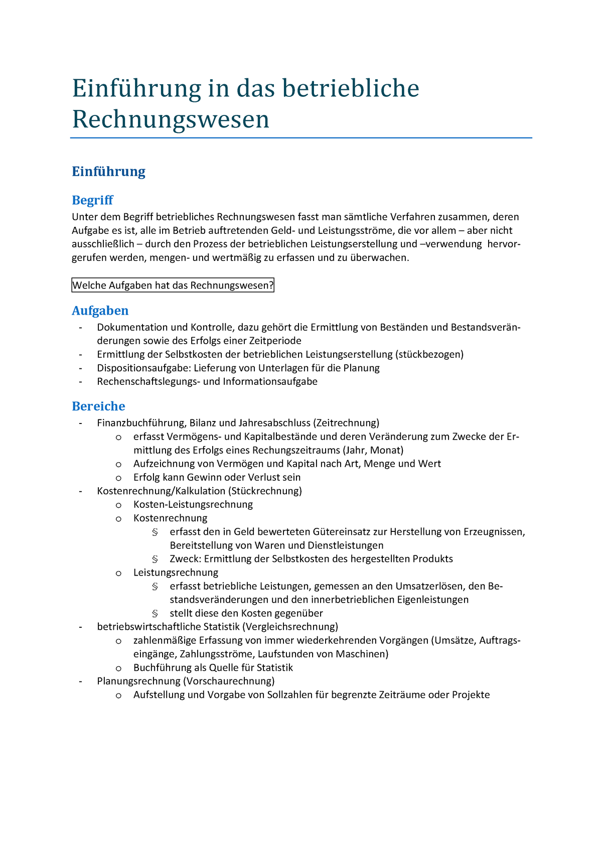 Zusammenfassung Rechnungswesen   WiSo II   B AE 20   Uni Bonn ...