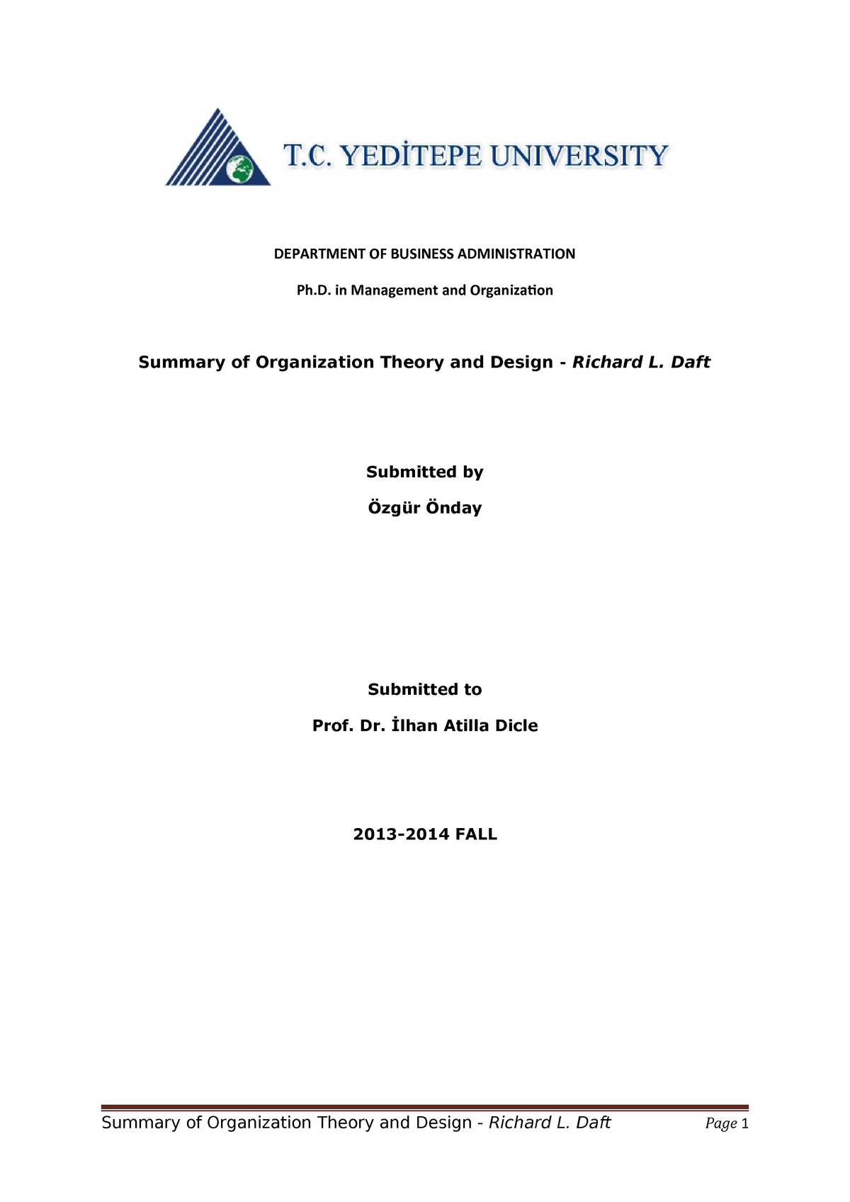 Organization Theoryand Design Summary Etm501 Etm501 Boun Studocu