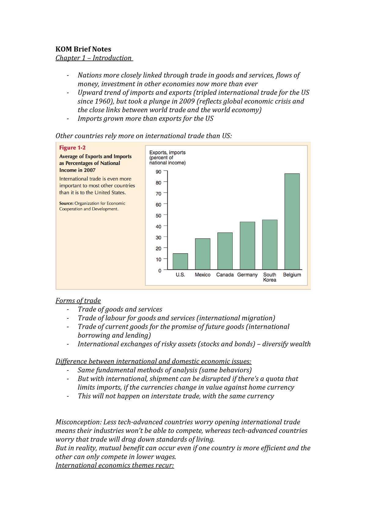 International Economics' book summary notes - ECON3004 - StuDocu