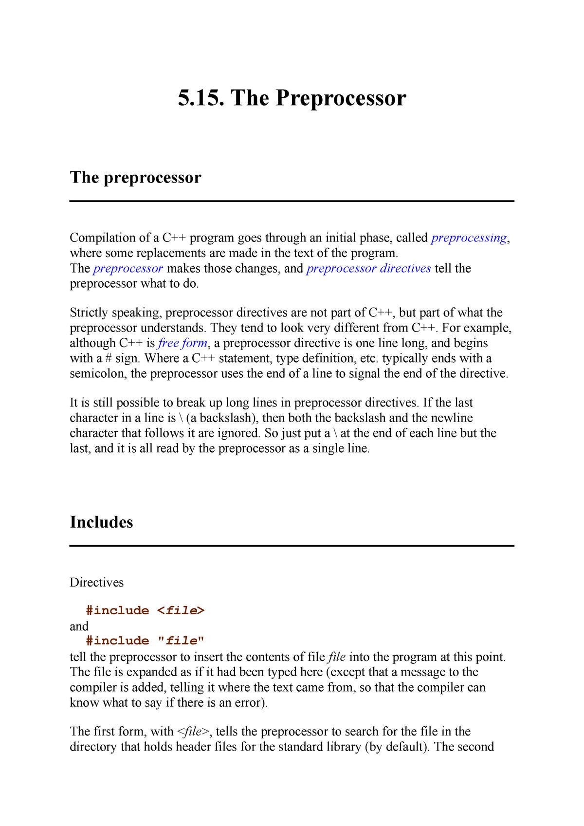 5 15  The Preprocessor - CSCI 3300 - ECU - StuDocu