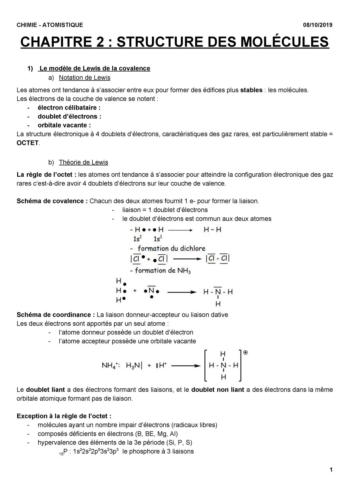 Structure Des Molecules L1 Sdv S1 Studocu