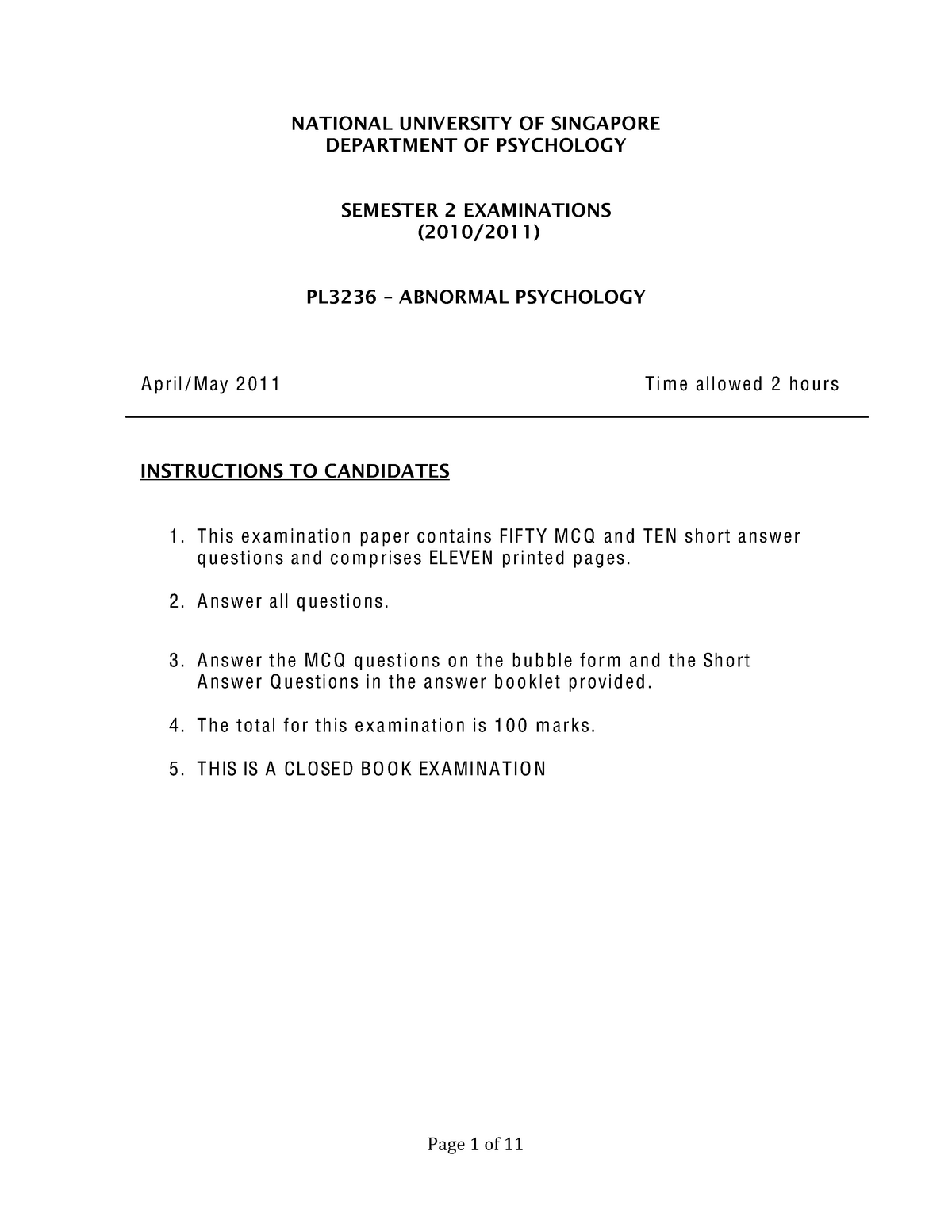 Exam 2011 - PL3236: Abnormal Psychology - StuDocu