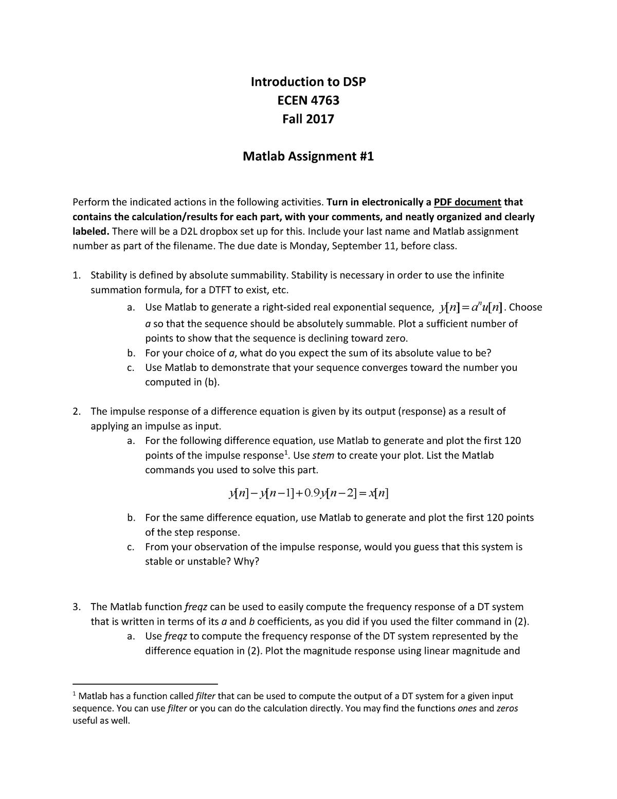 Matlab Assignment 1 (Questions only) - ECEN 4763