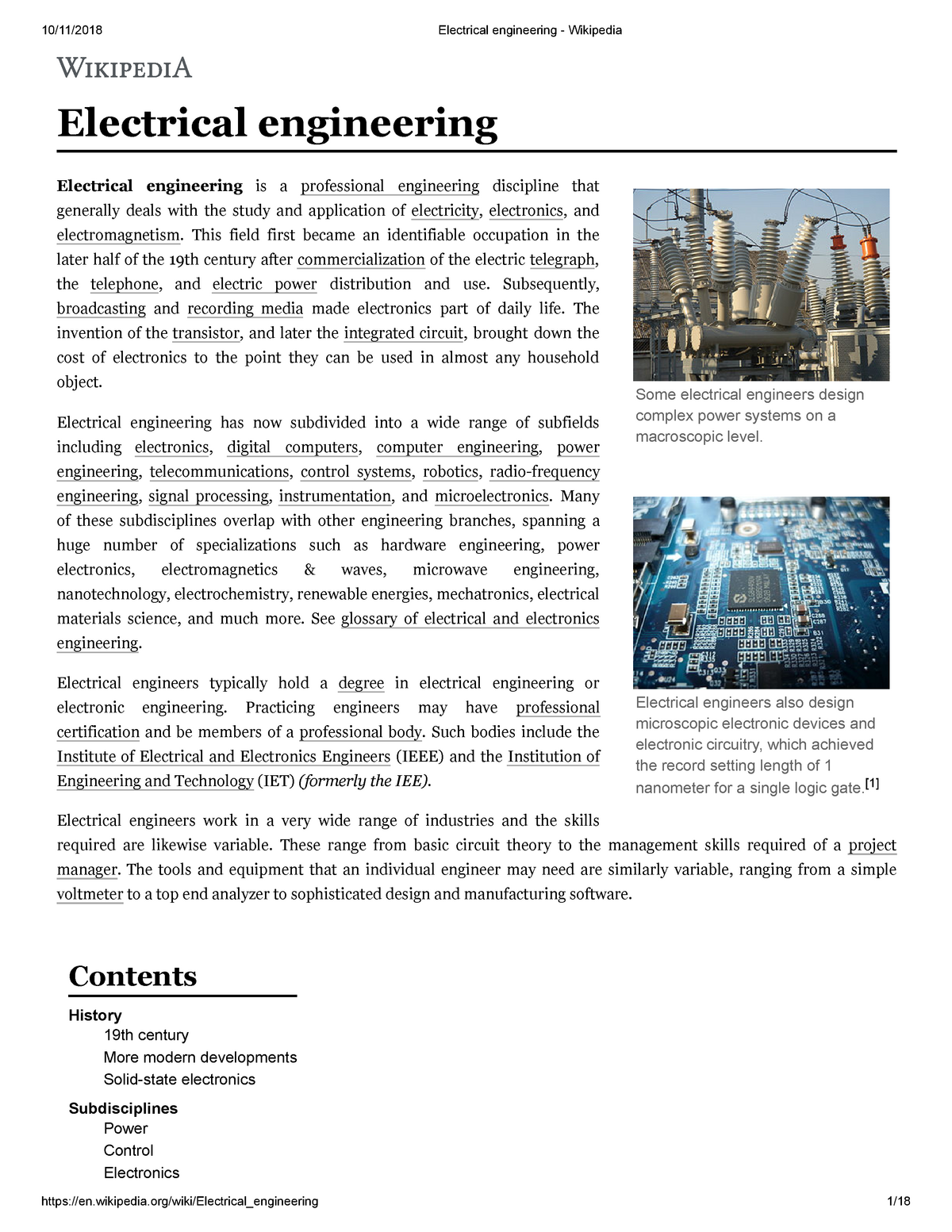 Electrical engineering - Wikipedia - ECE - StuDocu