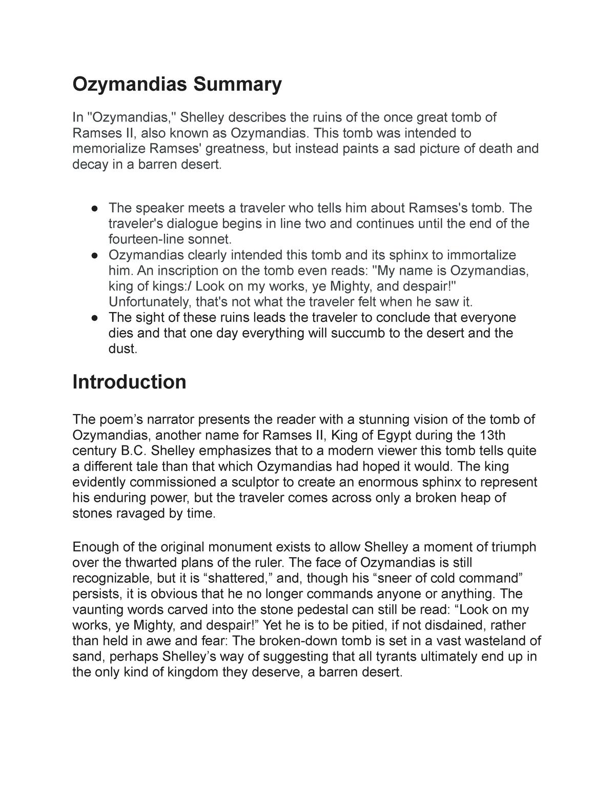 Ozymandia Summary Studocu Of The Poem By Shelley