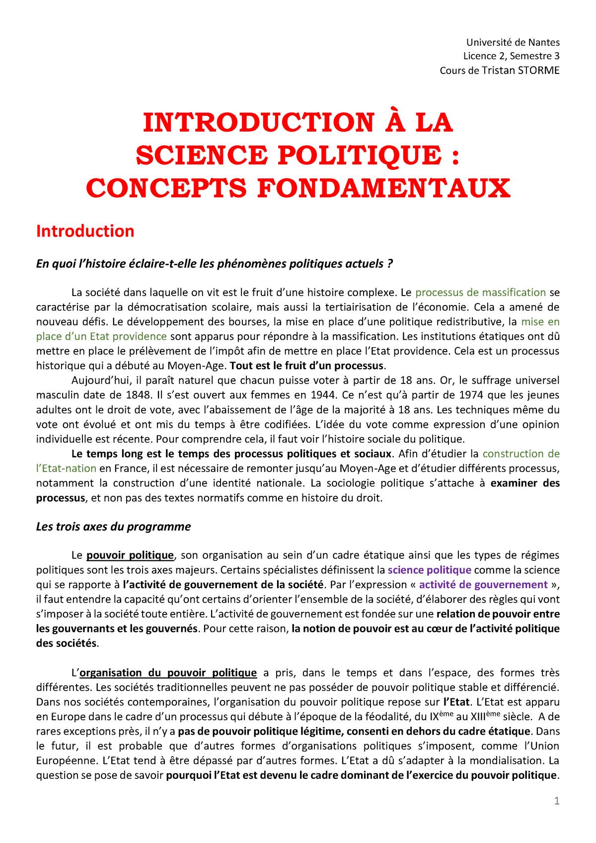 introduction a u0300 la science politique concepts fondamentaux