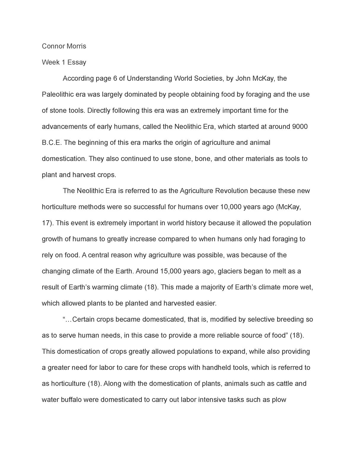 Week 1 essay - Grade: a - HIST 1010 World Civilizations II