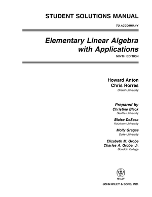 student solutions manual elementary linear algebra with applications rh studocu com Elementary Linear Algebra Problems Elementary Linear Algebra Problems